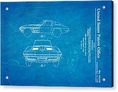 '63 Corvette Stingray Patent Art 1962 Blueprint Acrylic Print by Ian Monk