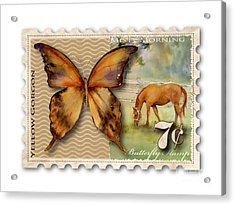7 Cent Butterfly Stamp Acrylic Print by Amy Kirkpatrick