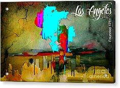 Los Angeles Map And Skyline Acrylic Print by Marvin Blaine