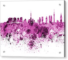 Tokyo Skyline In Watercolor On White Background Acrylic Print by Pablo Romero