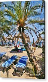 Painting Of Vai Beach Acrylic Print by George Atsametakis