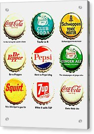 70s Soft Drink Slogans Acrylic Print by Benjamin Yeager
