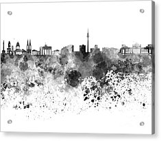 Berlin Skyline In Watercolor On White Background Acrylic Print by Pablo Romero