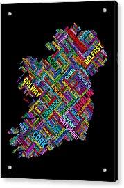 Ireland Eire City Text Map Acrylic Print by Michael Tompsett
