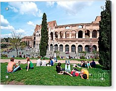 Outside Colosseum In Rome Acrylic Print by George Atsametakis