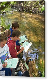 Students Studying River Water Quality Acrylic Print by Jim West