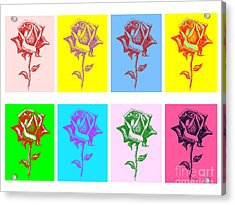 8 Warhol Roses By Punt Acrylic Print by Gordon Punt