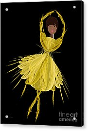8 Yellow Ballerina Acrylic Print by Andee Design