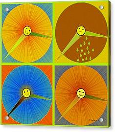880 - Rain And Shine Clocks  Acrylic Print by Irmgard Schoendorf Welch