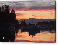 Port Clyde Maine Fishing Boats At Sunset Acrylic Print by Keith Webber Jr