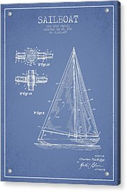Sailboat Patent Drawing From 1938 Acrylic Print by Aged Pixel