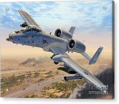 A-10 Over Baghdad Acrylic Print by Stu Shepherd