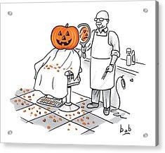 A Barber Shows A Smiling Jack-o-lantern The Back Acrylic Print by Bob Eckstein