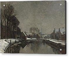 A Belgian Town In Winter Acrylic Print by Albert Baertsoen