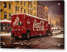 A Big Red Truck In The Barrio Acrylic Print by Chris Lord