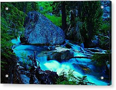 A Big Rock On The Way To Carter Falls Acrylic Print by Jeff Swan