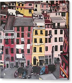 A Bird's Eye View Of Cinque Terre Acrylic Print by Quin Sweetman