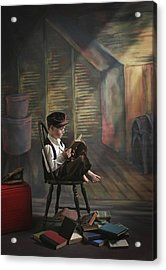 A Boy Posed Reading Old Books Victoria Acrylic Print by Pete Stec