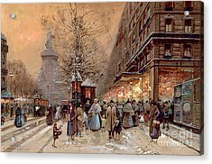 A Busy Boulevard Near The Place De La Republique Paris Acrylic Print by Eugene Galien-Laloue