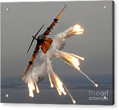 A C-17 Globemaster IIi Releases Flares Acrylic Print by Stocktrek Images