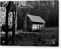 A Cabin In The Woods Bw Acrylic Print by Mel Steinhauer