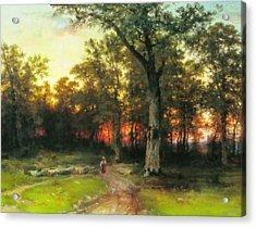A Child Walks In A Forest Acrylic Print by Georgiana Romanovna