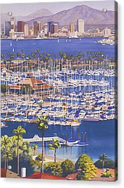 A Clear Day In San Diego Acrylic Print by Mary Helmreich