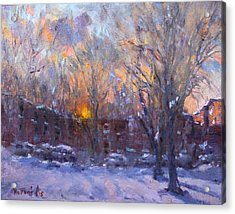 A Cold Winter Sunset  Acrylic Print by Ylli Haruni