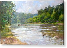 A Day At The River  Acrylic Print by Nancy Stutes
