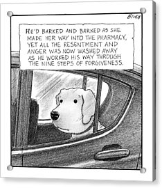 A Dog Looks Out Of A Car Window.  Title: He'd Acrylic Print by Harry Bliss