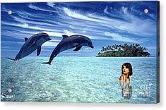A Dolphins Tale Acrylic Print by Marvin Blaine