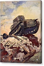 A First World War Tank Acrylic Print by J. Allen Shuffrey