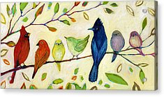 A Flock Of Many Colors Acrylic Print by Jennifer Lommers