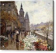 A Flower Market Along The Seine Acrylic Print by Georges Stein