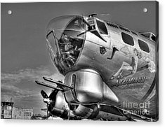A Flying Fortress Bw Acrylic Print by Mel Steinhauer
