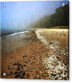 A Foggy Day At Pier Cove Beach 2.0 Acrylic Print by Michelle Calkins