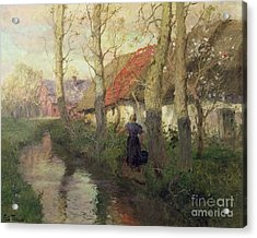 A French River Landscape With A Woman By Cottages Acrylic Print by Fritz Thaulow