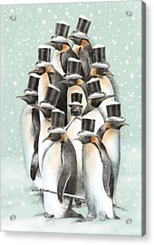 A Gathering In The Snow Acrylic Print by Eric Fan