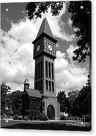 A German Bell Tower Bw Acrylic Print by Mel Steinhauer