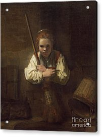 A Girl With A Broom Acrylic Print by Rembrandt