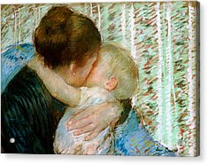 A Goodnight Hug  Acrylic Print by Mary Stevenson Cassatt