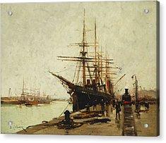 A Harbor Acrylic Print by Eugene Galien-Laloue