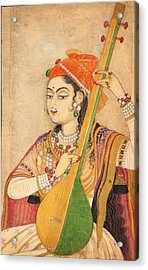 A Lady Playing The Tanpura Acrylic Print by Celestial Images