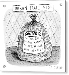 A Large Bag Is Centered In This Picture Acrylic Print by Roz Chast