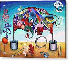 A Love Story/abstraction Of An Elephant Enhanced  Acrylic Print by George Curington