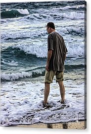 a Man and the Sea Acrylic Print by Ginette Callaway