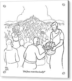 A Man Is Passing Out Loaves And Fish To A Large Acrylic Print by Paul Noth