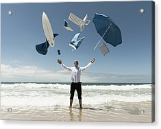 A Man Stands In The Ocean With Items Acrylic Print by Ben Welsh