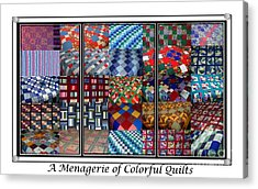 A Menagerie Of Colorful Quilts Triptych Acrylic Print by Barbara Griffin