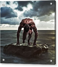 A Muscular Man In The Starting Position Acrylic Print by Ben Welsh